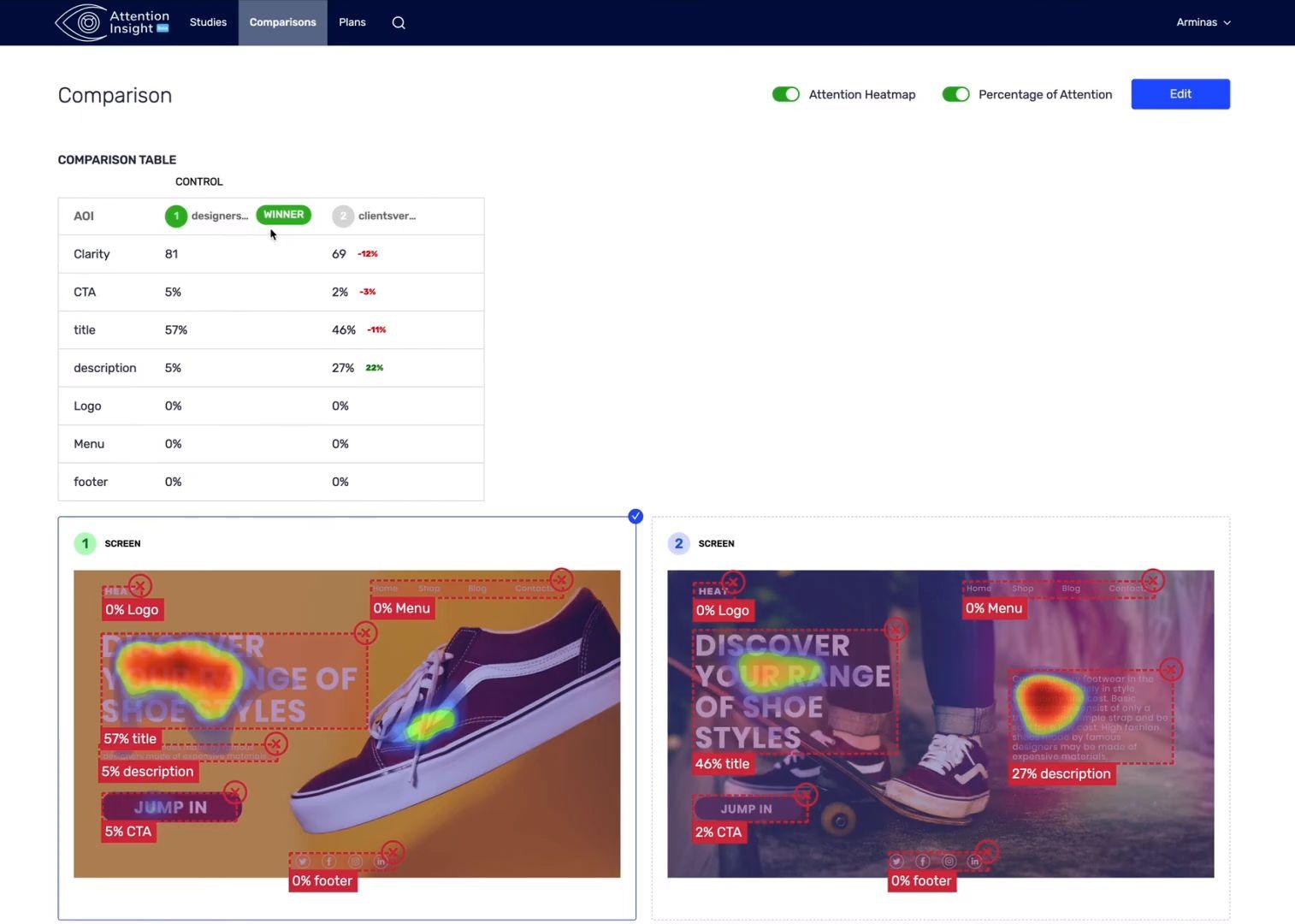 Comparison mode shoes web