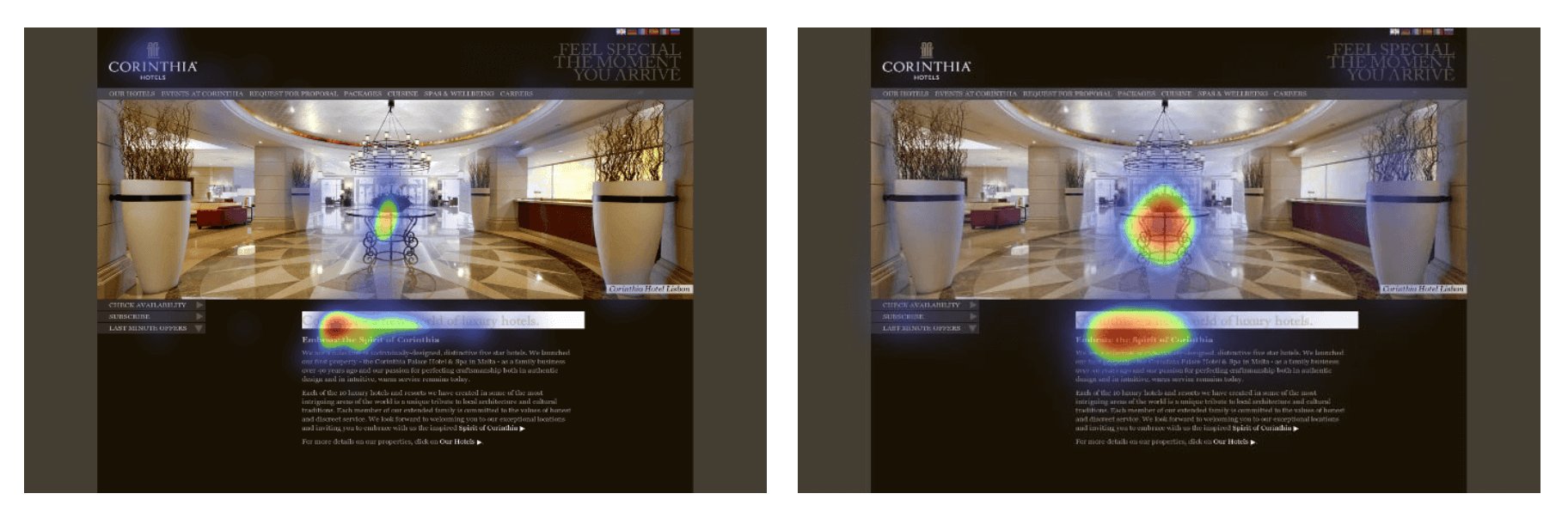 Image of two website heatmaps compared with predictive versus traditional eye tracking technology used