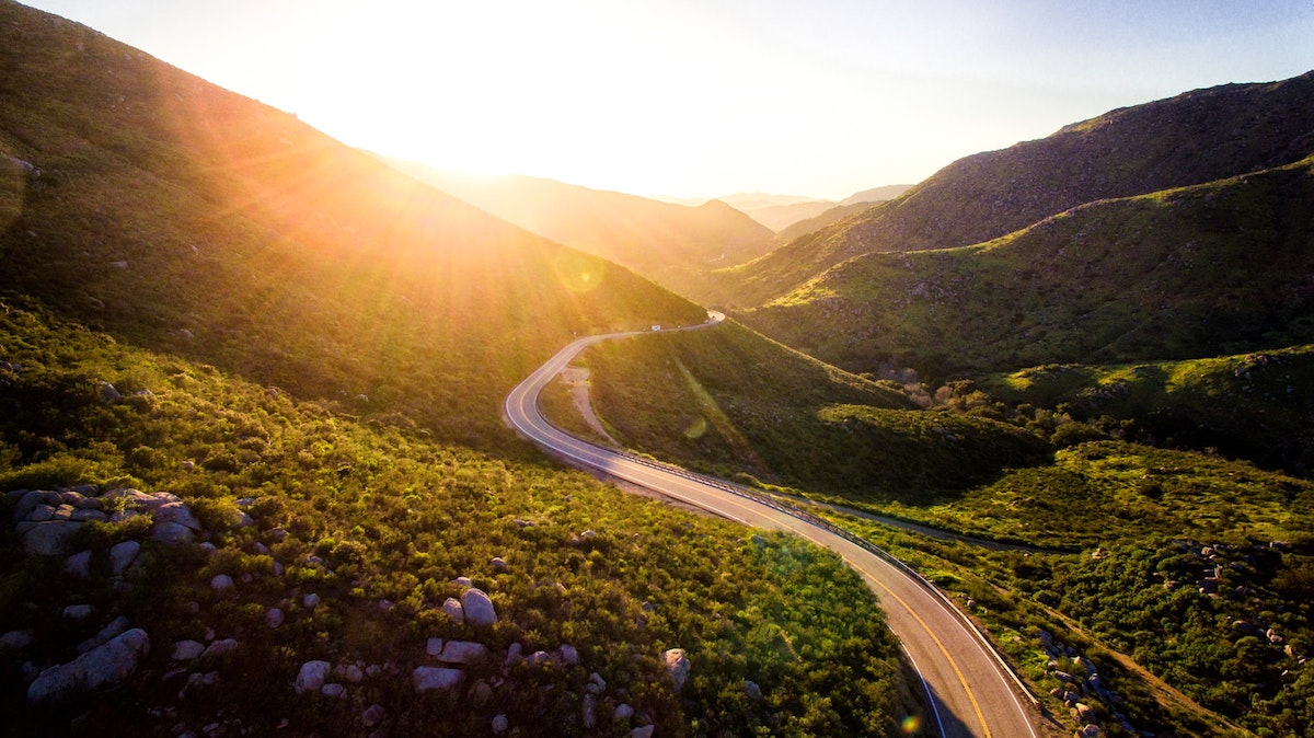 Long road between two hills