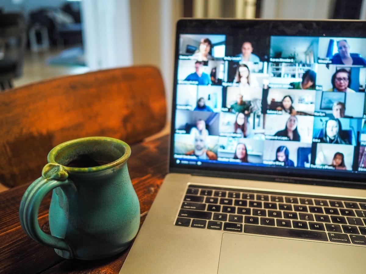 Remote meeting on laptop